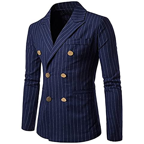 KLJR Men's Casual Double Breasted Stripe Slim Fit Blazer Jackets Navy Blue US L - Breasted Navy Blazer
