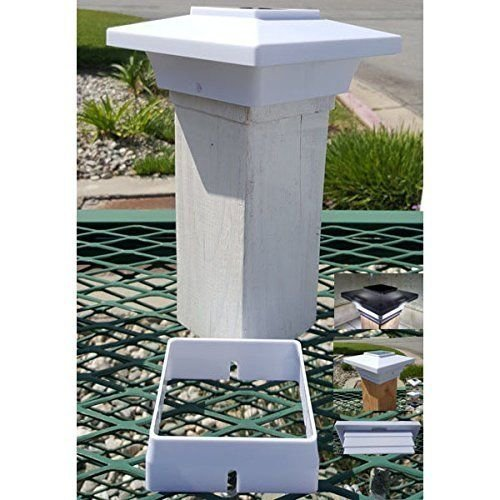 Solar Post Cap Light 4x4 White Low Profile 4 SMD LEDs (Set of 1) + 3.5