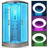 VIRPOL Steam Shower Cubicle Enclosure 3KW Generator with 6 Body Massage Jets White