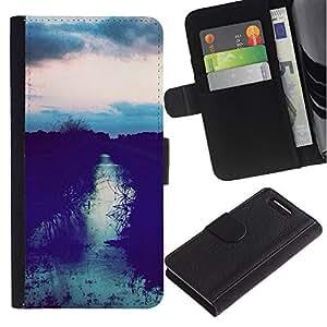 For Sony Xperia Z3 Compact Case , Field Sunset After Sky Night View - la tarjeta de Crédito Slots PU Funda de cuero Monedero caso cubierta de piel