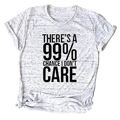 (TWGONE There is A 99% Chance I Don't Care Shirt Women Kont Side Scoop Neck Short Sleeve Sack Plus Size Tee Casual Top(X-Large,Gray))