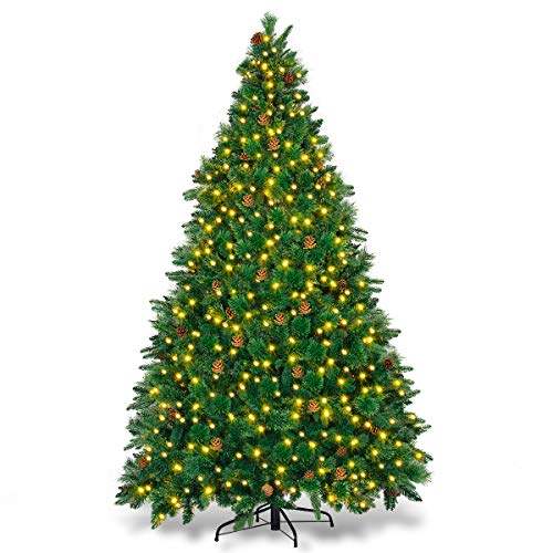 Goplus Artificial Christmas Tree Premium Spruce Hinged Tree with LED Lights and Solid Metal Stand, UL-Certified Transformer (7.5ft, 1393 Branch Tips, 750 Lights, 45 Pine Cone) (Tree Trees Stands Christmas Walmart Artificial For)