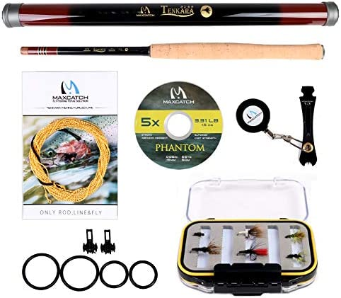 M MAXIMUMCATCH Maxcatch Tenkara Rod Combo Complete Kit 11 12 13ft Telescoping Carbon Tenkara Rod, Tenkara Line, Tippet, Flies, Line Nipper, Hook Keepers