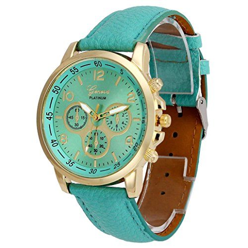 Oliviavan Unisex Casual Geneva Faux Leather Quartz Analog Wrist Watch Watches Special design (Mint Green) (Mint Leather Bangle)
