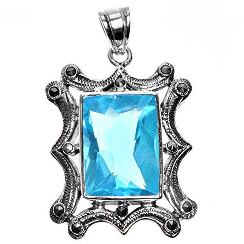 Solitaire Pendant Simulated Aquamarine Marcasite .925 Sterling Silver Charm - Silver Jewelry Accessories Key Chain Bracelet Necklace Pendants