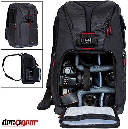 """Deco Gear DSLR Camera Backpack, Customizable Compartments for Cameras, Lenses, Accessories & 15"""" Laptop, Weather Protective, Perfect for Canon Nikon & Sony Photographers (Turns Into Sling Bag) – The Super Cheap"""