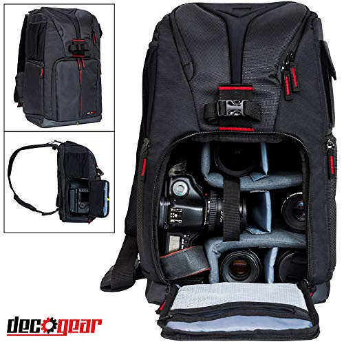 Nikon Camera Backpacks - Deco Gear DSLR Camera Backpack, Customizable Compartments for Cameras, Lenses, Accessories & 15'' Laptop, Weather Protective, Perfect for Canon Nikon & Sony Photographers (Turns Into Sling Bag)