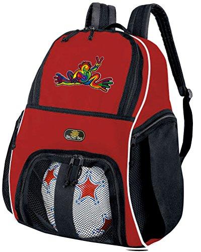 平和FrogsサッカーボールバックパックまたはPeace Frogバレーボールバッグ