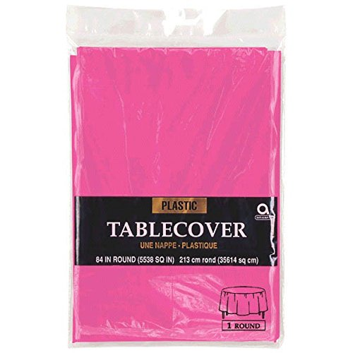 Reusable Plain Round Table Cover Party Tableware, 1 Pieces, Made from Plastic, Bright Pink, 84