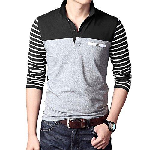 Coofandy Men's Long Sleeve Polo Shirt Slim Fit Casual T Shirt, Black, Small