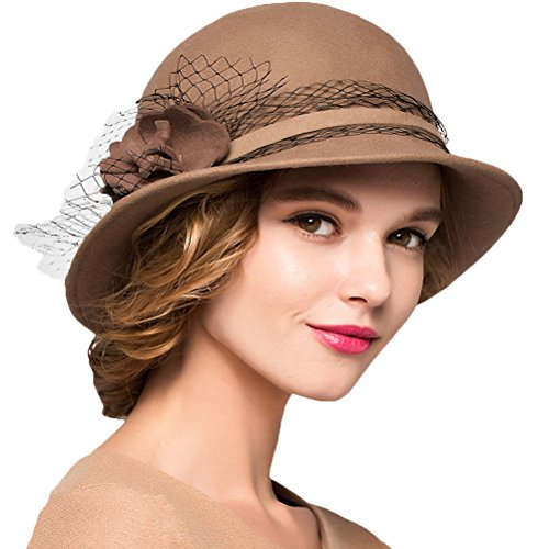 Maitose&Trade; Women's Wool Felt Bowler Hat Camel by Maitose