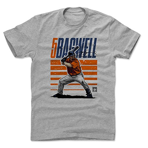 500 LEVEL Jeff Bagwell Cotton Shirt (Large, Heather Gray) - Houston Astros Men's Apparel - Jeff Bagwell Starter O ()