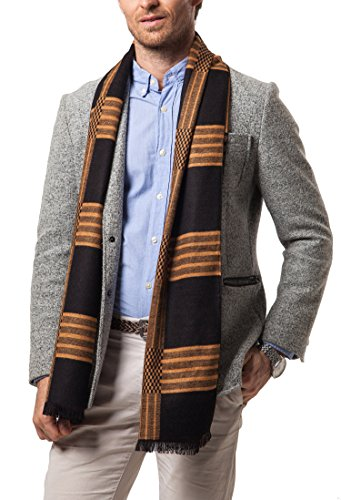 Cheering Striped Color Block Knitted Winter Scarf With Fringe Style5 OneSize