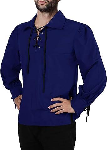 Fueri - Camisa medieval para hombre, con cordones, manga larga, gótico, pirata, victoriano, fiesta, carnaval, vintage, cosplay para hombres: Amazon.es: Ropa y accesorios
