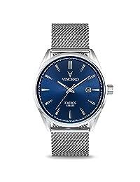 Vincero Kairos Reloj - Banda de Malla de Acero - Reloj de Vestido 42mm - Movimiento de Cuarzo Japonés (Azul/Plata)