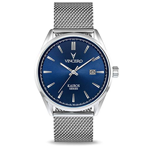 Vincero The Kairos Mesh Dial Stainless Steel Men's Watch Blu-SilM-K13