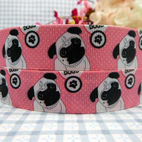 mdribbons 5/8 Inch 50 Yards Pug Dog Printed Grosgrain Ribbons