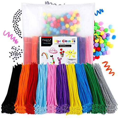 Magicfly 1000 Pcs Pipe Cleaners with 100 Pieces Pompom Balls 25mm and 50 Pcs Wiggle Googly Eyes, Chenille Stems in 10 Assorted Colors, 6mm x12 inch for DIY Arts & Craft Projects (Cleaner For Christmas Pipe Projects)