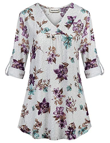 Nandashe Loose Tunic Tops, Woman's Boutique Elbow Length Sleeve Flower Printed Shirring Stylish Knitted Smooth A Line Draped Hem Business Dress Shirts Peasant Blouses Dating Clothes White Purple M