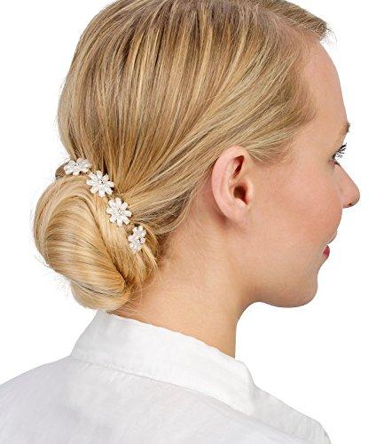 SIX 4er Set silberne Haarnadeln mit Blumen aus weißen Perlen & Strass (329-841)