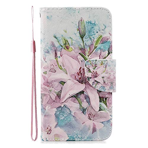 Stylish Cover CompatibleiPhone X flower2 Leather Flip Case Wallet for iPhone X