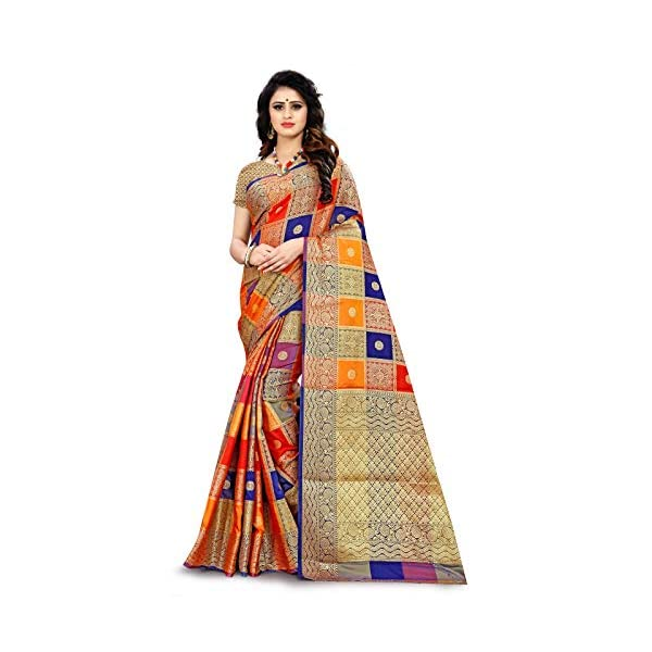RIVANA Women's Banarasi Silk Saree With Un-stitched Blouse