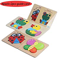 HAHAone Wooden Toddler Puzzles Gifts Toys for 1 2 3 4 5 Year Old Boys Girls Baby(Include 2pcs Guide Card) Kids Learning Jigsaw Montessori Toy, Preschool Learning Toys, Two Difficulty Levels