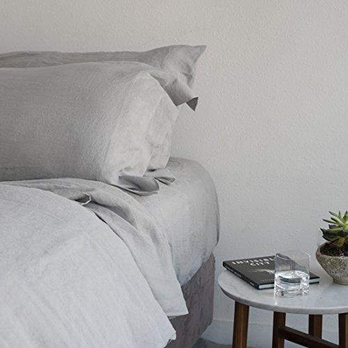 Italian Linen Duvet Cover - Huddleson Silver Grey Vintage Washed Pure Italian Linen Duvet Cover - Queen