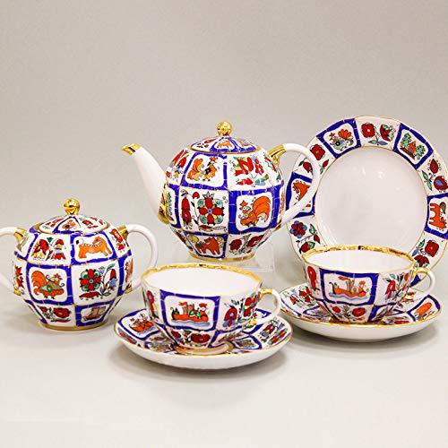 (Imperial/Lomonosov Porcelain 20-Piece Tea Set for 6 Persons Lubok)