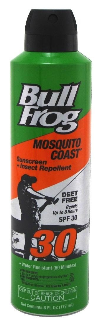 BullFrog Mosquito Coast Spray Sunscreen + Insect Repellent SPF 30 6 oz ( Pack of 2)