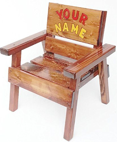Kids Wood Chair with Arms - Personalized Gift - Engraved and Painted Custom Name
