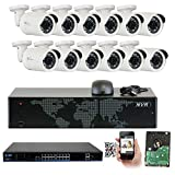 Cheap GW Security 16 Channel 4K NVR 5MP IP Camera Network POE Video Security System – 12 x 5.0 Megapixel (2592 x 1920p) Weatherproof Bullet Cameras, Quick QR Code Easy Setup, Pre-Installed 4TB Hard Drive