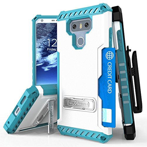 LG G6 Case, Mstechcorp Hybrid Rugged Full Body Armor Defender Cover with kickstand, Card Slot & Rotating Belt Clip Holster for LG G6 with Goodie (White Teal)