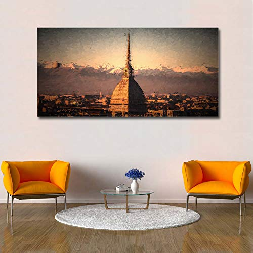 Libaoge Wall Print Art | Antennali Minaret in Turin Italy - Photograph Printed on Canvas for Home Wall Decoration | Stretched by Wooden Frame,Ready to Hang - 16X32 Inch