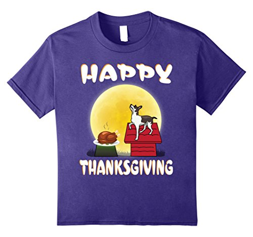 Rat Terriers In Costumes (Kids Rat Terrier Dog Costume Happy Thanksgiving Day T-Shirt Gift 8 Purple)