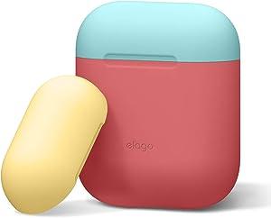 elago Duo Silicone Case Designed for Apple AirPods Case, 2 Caps + 1 Body [ Coral Blue, Yellow + Italian Rose ]