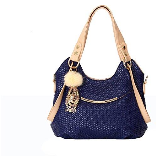 QCKJ-Lorenz-Borsa a tracolla in poliuretano Bandbag donna, colore: blu scuro