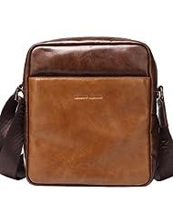 BISON DENIM Mens Retro Soft Genuine Leather Cross body Messenger Bag Satchel Laptop Shoulder Bags