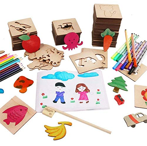 Bajotien 50 Pieces Wooden Drawing Stencils and Templates Set for Kids, Journal Stencils Planner Includes Animal Fruit Plant Shapes, Ideal Educational Toy and Gift for Boys and Girls