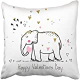 Throw Pillow Cover Square 18x18 Inches Blue Aniversary Elephant in Love Pink Simple Africa Animal Baby Childish Day Doodle Polyester Decor Hidden Zipper Print On Pillowcases