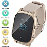 Gps Watch For Kids Seniors, Smart Watch Phone Gps Tracker With Anti Lost SOS Call Location Finder Pedometer GPS LBS Real Tracking On APP Support Android IOS T58 (Gold)