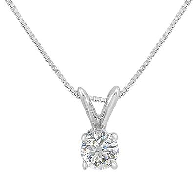 346da8dfa Amazon.com: AGS Certified 1/3ct Diamond Solitaire Pendant Necklace in 14K  White Gold on an 18 in. 14K White Gold Box Chain: Jewelry