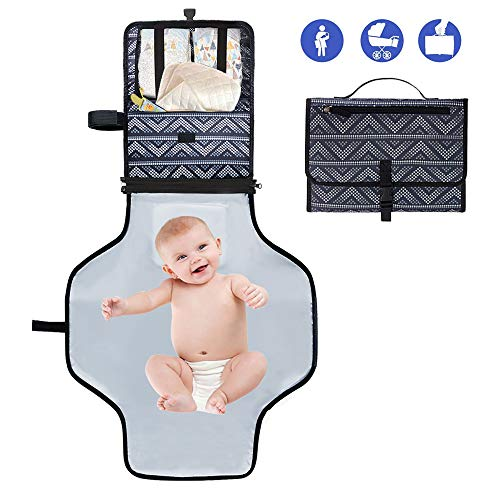 Diaper Changing Pad Portable,Waterproof Diaper Changing Station,Wipeable Baby Mat,Travel Changer Station Kit for Baby with Padded Head Cushion, Folding Diaper Pad Clutch,Diaper Pouch(Dark Gray)