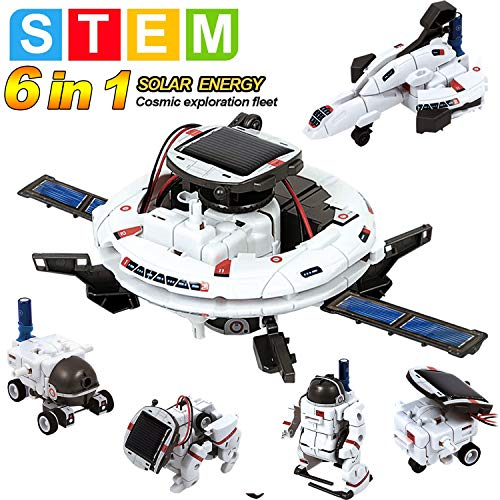 MAN NUO STEM Toys Solar Power Robot Kit 6 in 1 Educational Science Kits Toys Learning Science Space Building DIY Science…