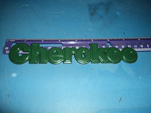 (93-96 JEEP CHEROKEE GREEN SIDE FENDER REAR TRUNK METAL EMBLEM)