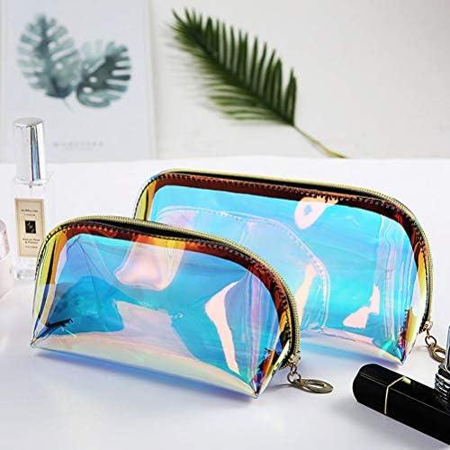 SoundZero 2 pcs Transparent Laser Maquillage Sac Hologramme Trousse de Maquillage Transparent Portable Voyage Trousse De Toilette Clair en Plastique Cosm/étique Sac Maquillage Organisateur avec Zipper
