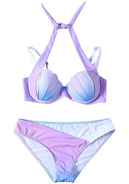 f2b354043dbb0 Amazon.com: PiePieBuy Women's Gradient Color Seashell Bikini Set Push up Padded  Mermaid Swimsuit Bathing Suit (Free Expedited): Clothing