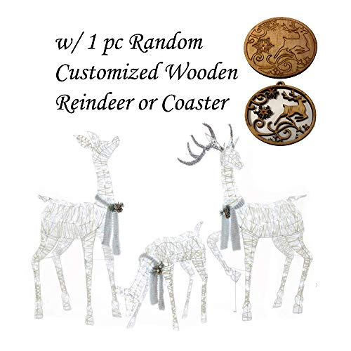 Multiple 3 Piece Set Led Lighted White Gold Deer Family with Customised Wooden Reindeer Christmas Ornament, Unique Christmas Decor, Ideas, Perfect Outdoor and Yard Decorations