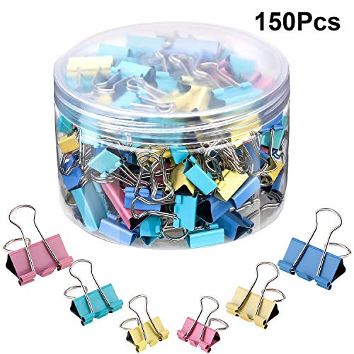 - 150 Pieces Binder Clips Paper Clamp Clips Assorted Sizes (Multicolor)