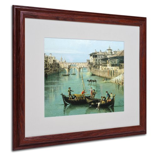 Florence Ponte Vecchio - Arno River and Ponte Vecchio by Canaletto with Wood Frame Artwork, 16 by 20-Inch